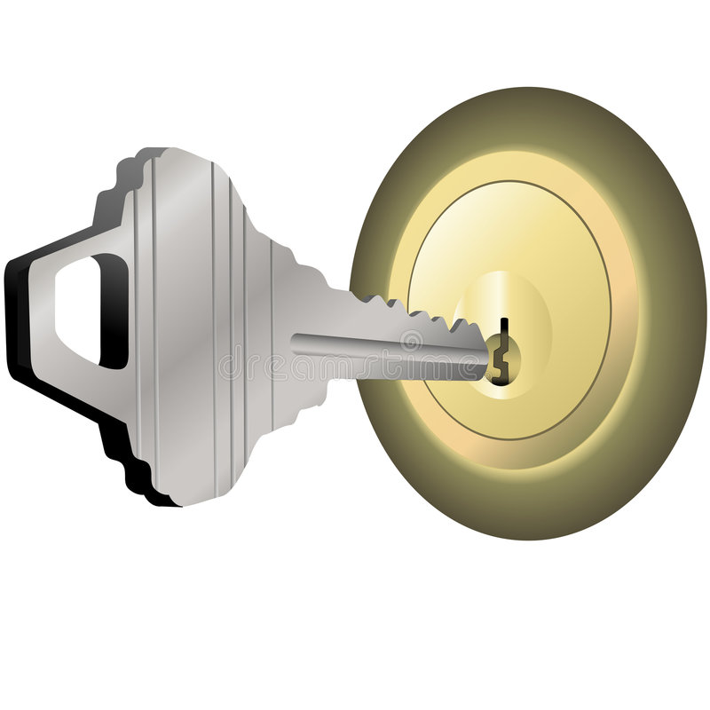 House Key to Unlock Brass Lock for Home Door vector illustration
