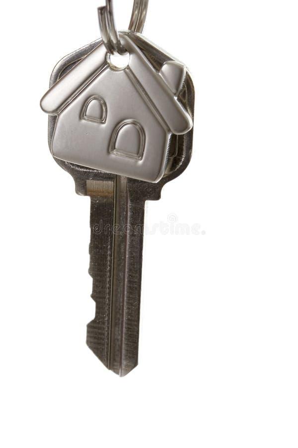 House keys. A key for a house on a keychain isolated on white stock photos