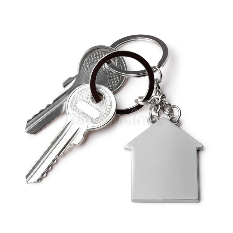 House keys. And Keychain on white background royalty free stock photo