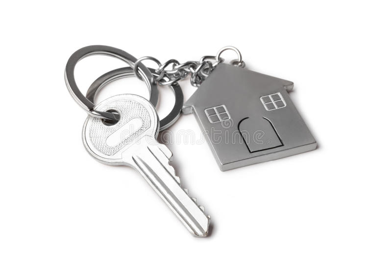 House keys. And Keychain on white background royalty free stock images
