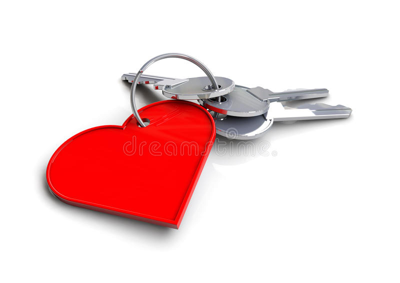 House keys with heart icon keyring. Concept for key to my heart. love. vector illustration