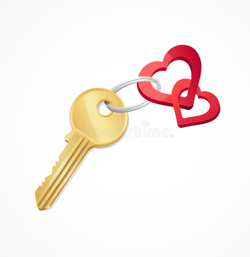 House keys with Red heart Key chain. This is file of EPS10 format vector illustration