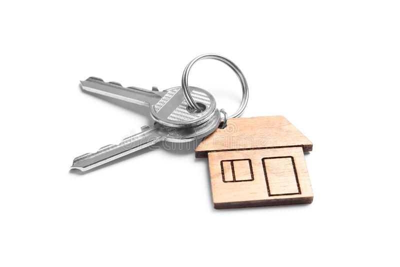 House keys with trinket royalty free stock photo