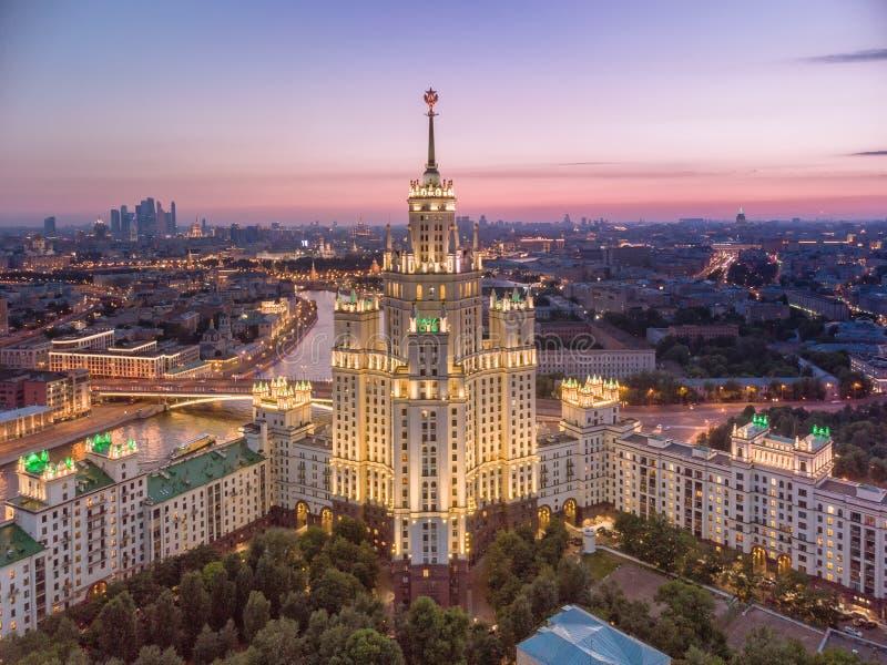 House on Kotelnicheskaya Embankment, aerial view in the evening. House on Kotelnicheskaya Embankment in the evening summer, aerial view stock images