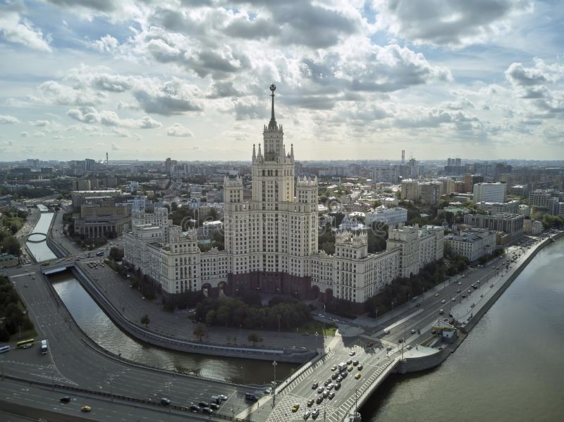 House on Kotelnicheskaya Embankment in Moscow, Russia. Aerial drone panoramic view. Moscow river. Stalin skyscraper. House on Kotelnicheskaya Embankment in royalty free stock photography