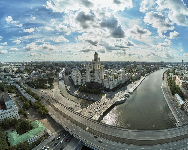 House on Kotelnicheskaya Embankment in Moscow, Russia. Aerial drone panoramic view. Moscow river. Stalin skyscraper. House on Kotelnicheskaya Embankment in royalty free stock photos