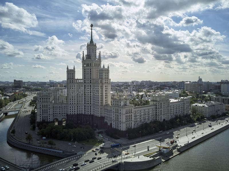 House on Kotelnicheskaya Embankment in Moscow, Russia. Aerial drone panoramic view. Moscow river. Stalin skyscraper. House on Kotelnicheskaya Embankment in royalty free stock image