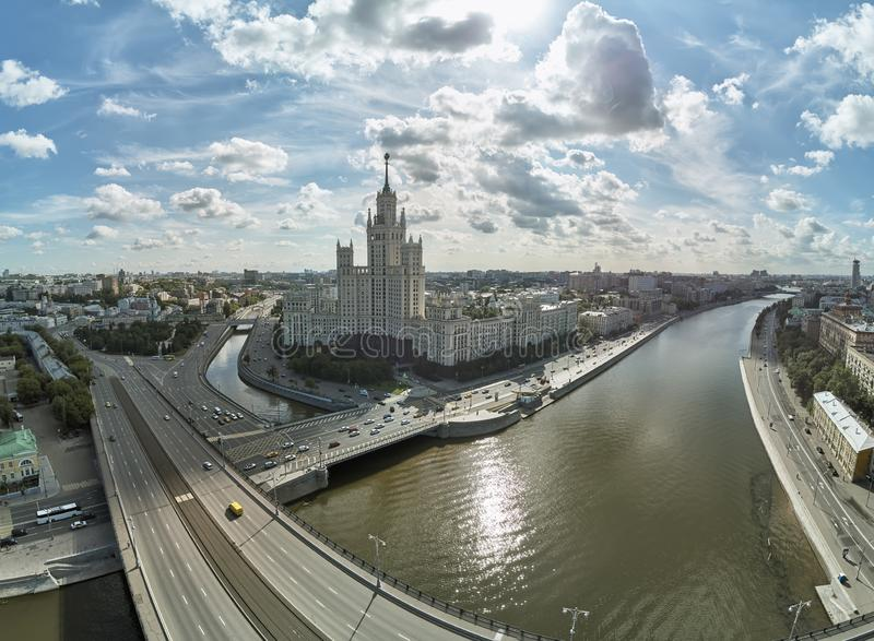 House on Kotelnicheskaya Embankment in Moscow, Russia. Aerial drone panoramic view. Moscow river. Stalin skyscraper. House on Kotelnicheskaya Embankment in stock images