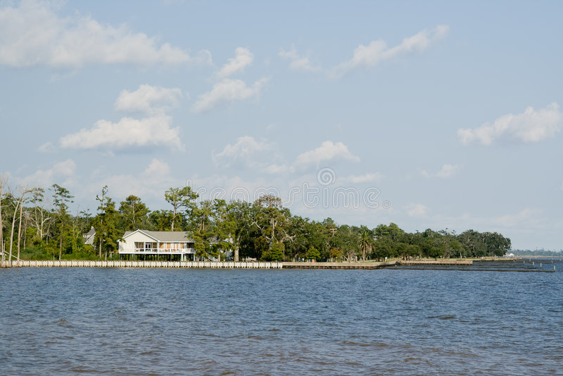 House on Lake Pontchartrain. Raised camp on the northshore of Lake Pontchartrain, Louisiana stock photo