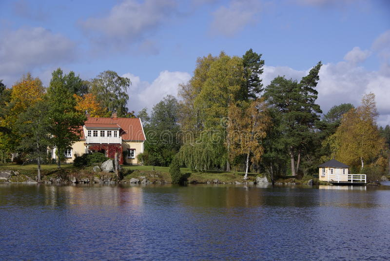 House at the lake, Sweden royalty free stock photo