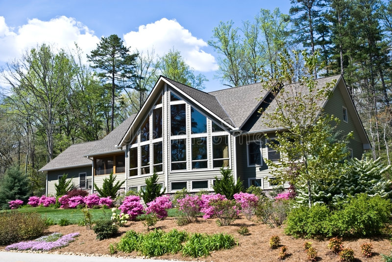 House Landscape in Spring royalty free stock photography
