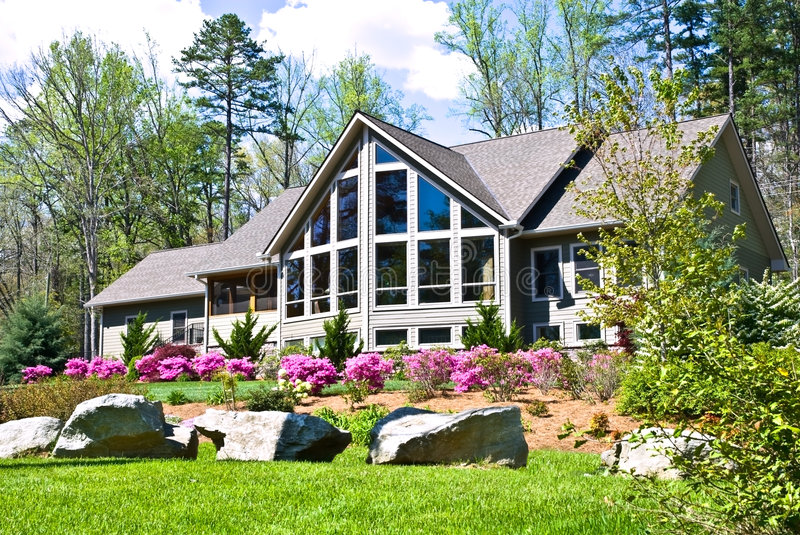 House Landscape in Spring stock image