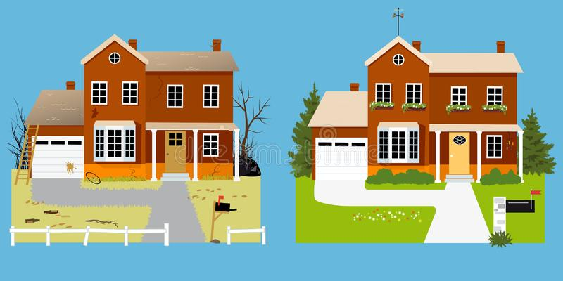 Curb appeal improvement. House before and after landscaping with improved curb appeal, EPS 8 vector illustration stock illustration