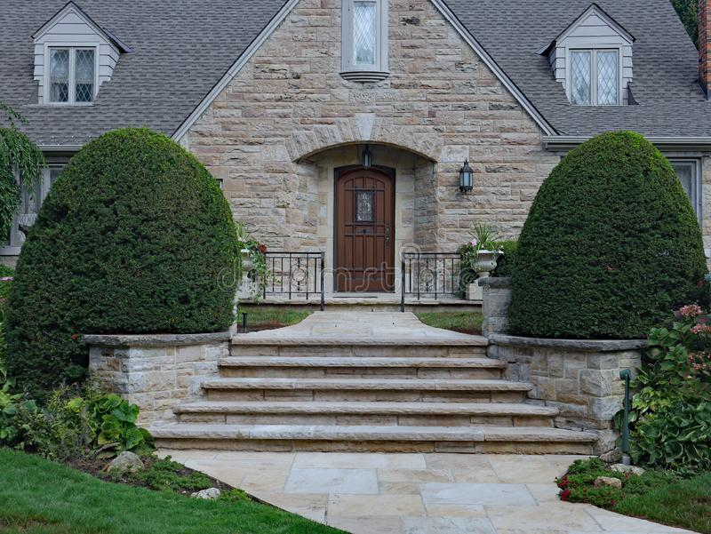 House with large stone gable stock photos