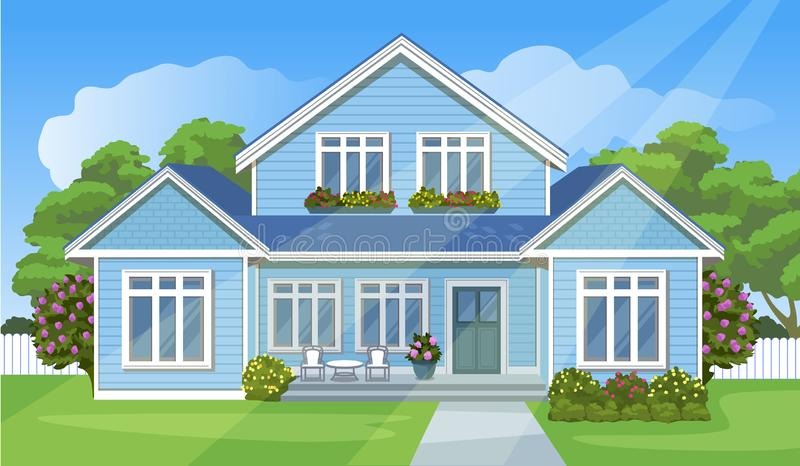 House with a lawn. Cartoon style background. Vector illustration royalty free illustration