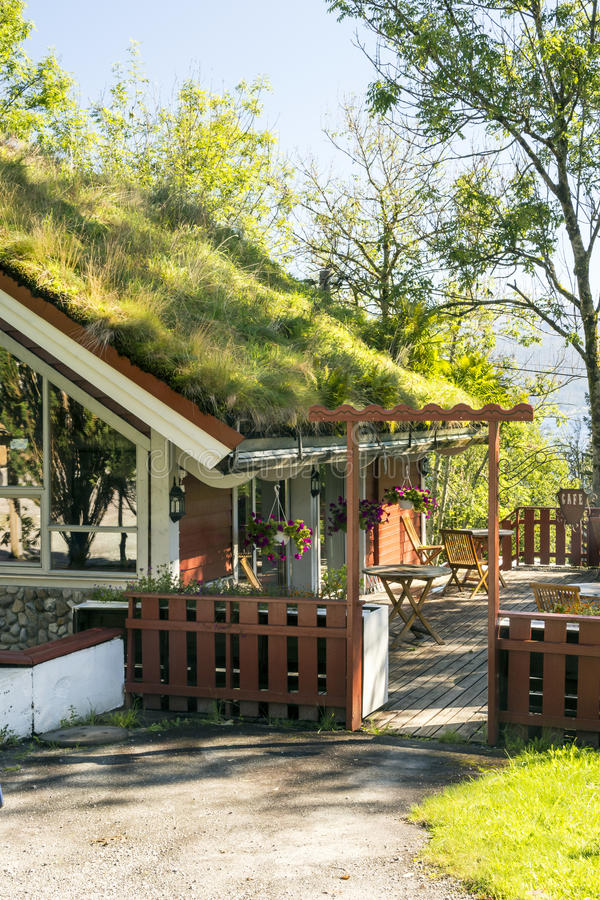 House with lawn on the roof. Surrounded by gardens in the south of Norway. It is a sunny image in vertical royalty free stock photography
