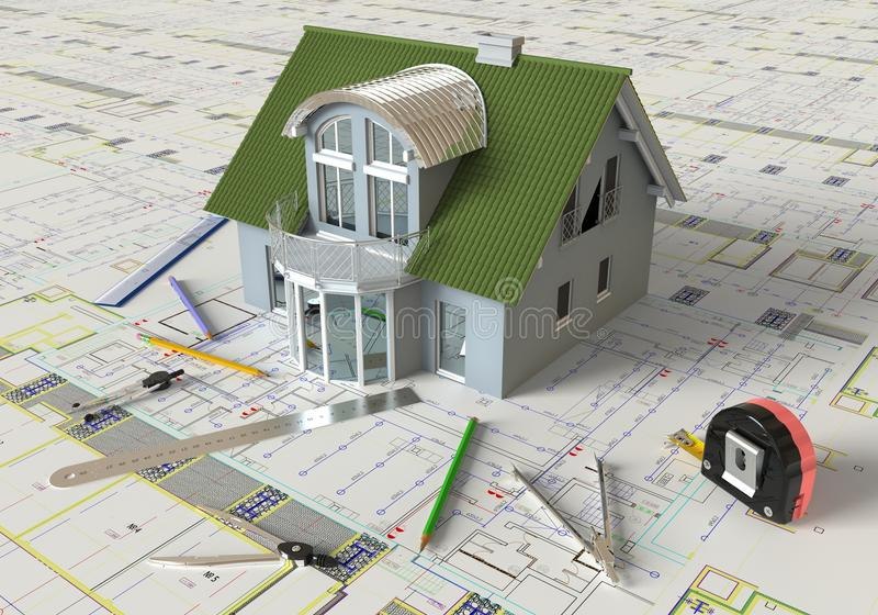 House Layout And Architectural Drawings stock image