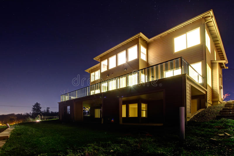 view modern house lights. Download House With Lights On. NIght View Stock Photo - Image Of Spring, Modern E