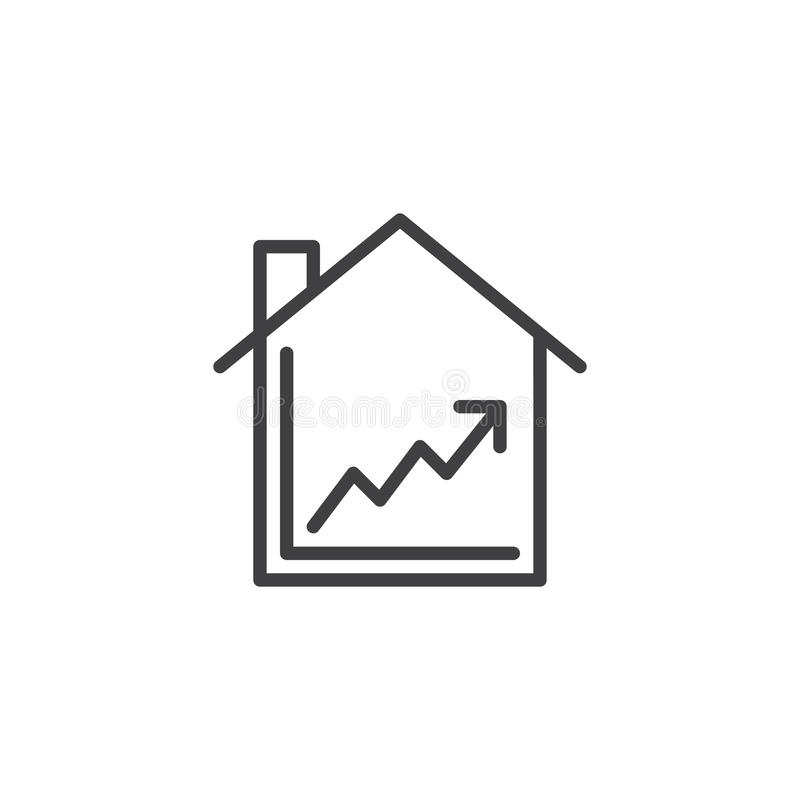 House and line graph line icon vector illustration