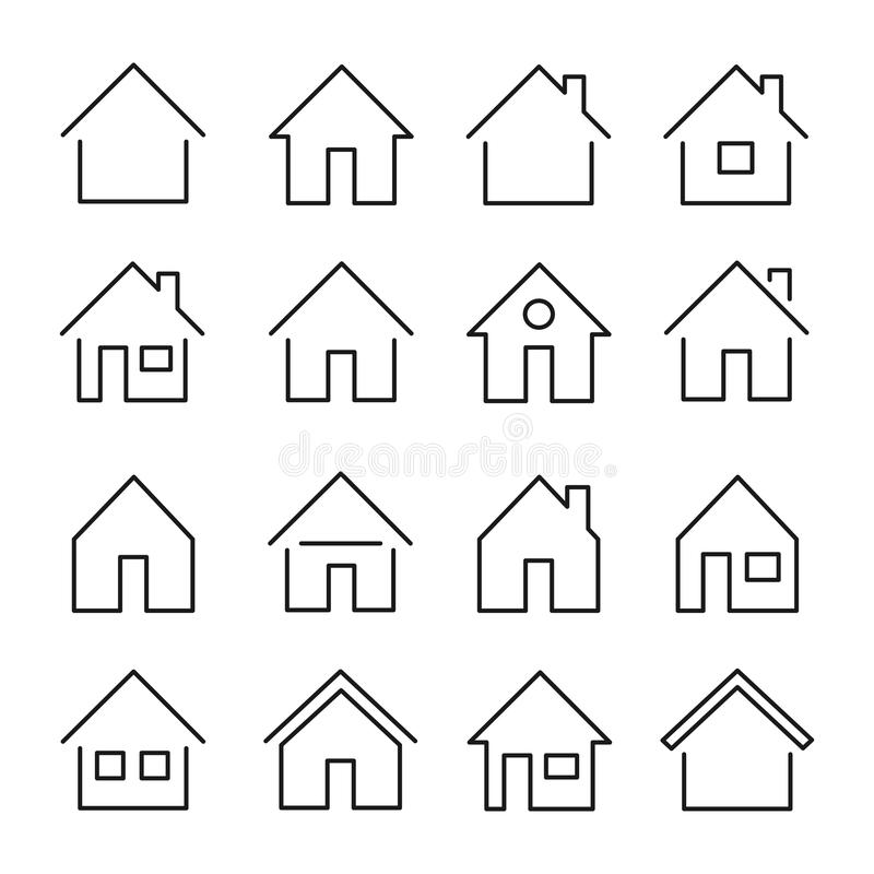 House line icon. Building for human habitation set, residence for family, shelter or a place to live. Vector line art illustration isolated on white background royalty free illustration