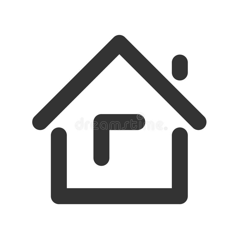 House line icon. House line icon Isolated on white background. Home sign, logo, pictogram for mobile app and web design. Simple linear style vector. Pixel stock illustration