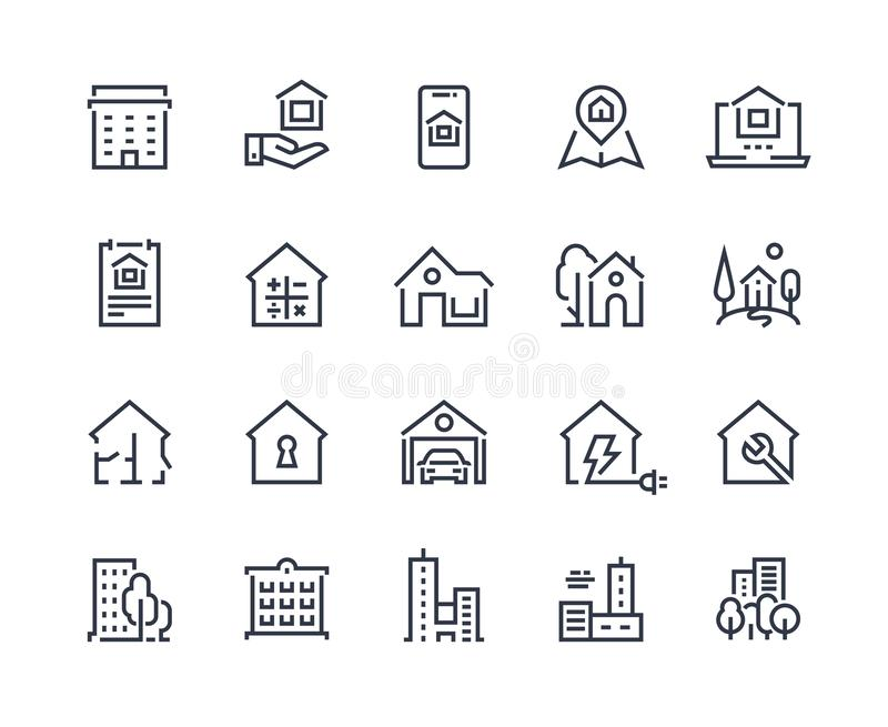 House line icons. Town houses city buildings and constructions, homepage browser interface icons. Vector real estate set stock illustration