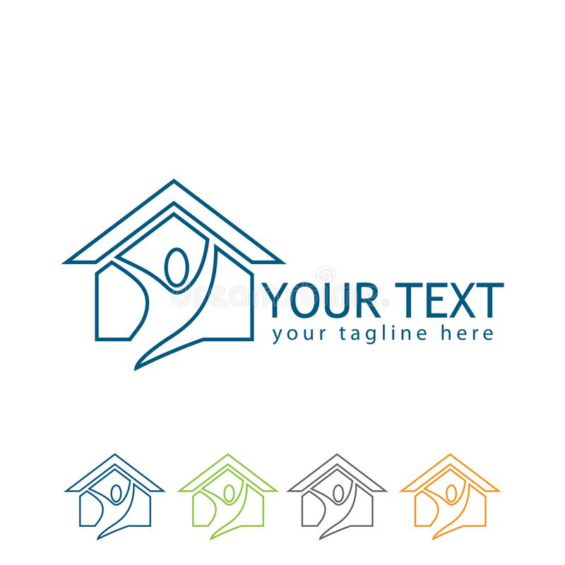 House line logo vector with people vector illustration