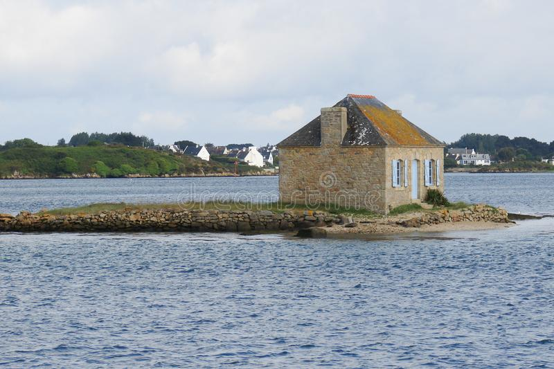 House in a little islet island in brittany in France royalty free stock photos