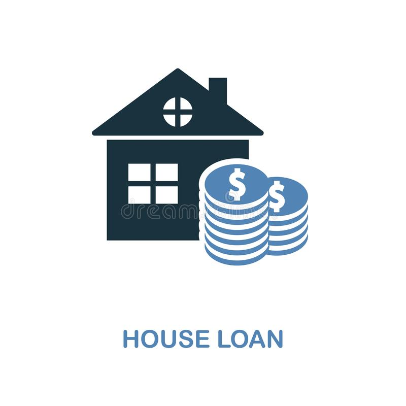 House Loan icon in two colors design. Pixel perfect symbols from personal finance icon collection. UI and UX. Illustration of hous. House Loan creative icon in vector illustration