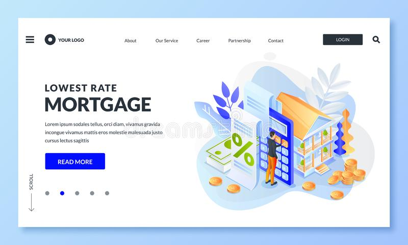 House loan, money investment to real estate. Man calculates home mortgage rate. Vector 3d isometric illustration royalty free illustration