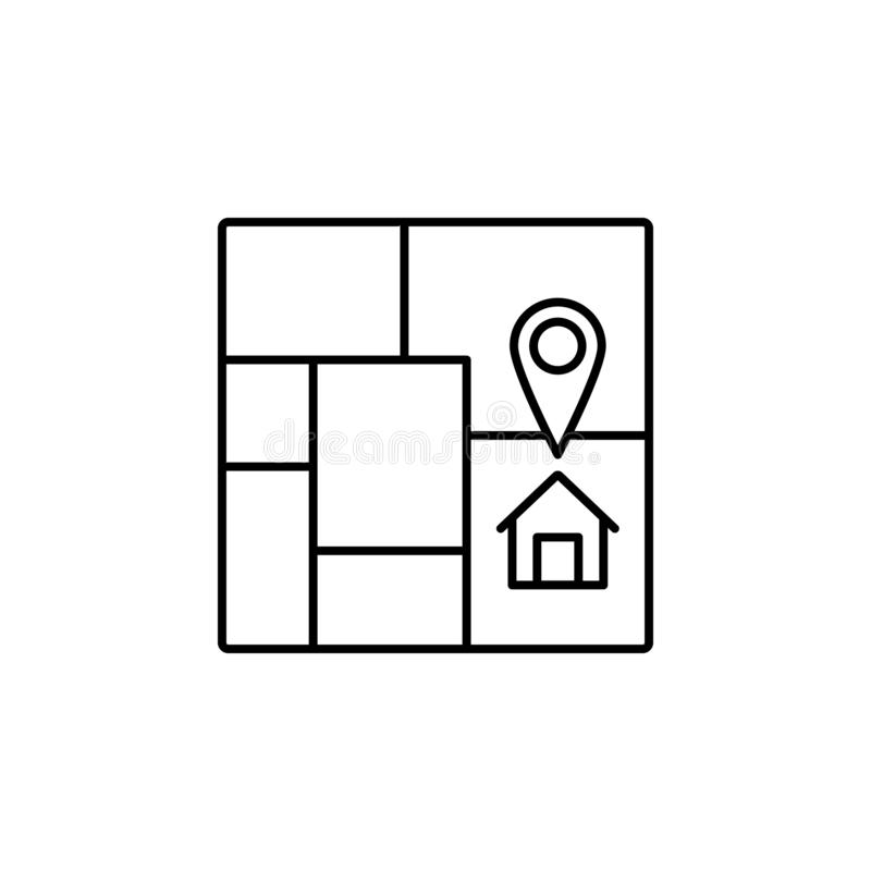 house, location, map icon. Simple thin line, outline vector of Real Estate icons for UI and UX, website or mobile application stock illustration