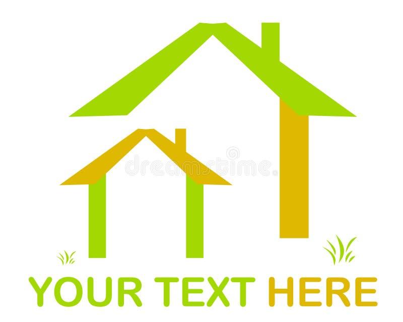 House logo. Vector green house logo and grass stock illustration