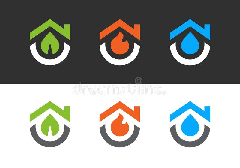 House logo with leaf, fire and water. Logos design templates set, clean and modern home symbol collection - Vector vector illustration