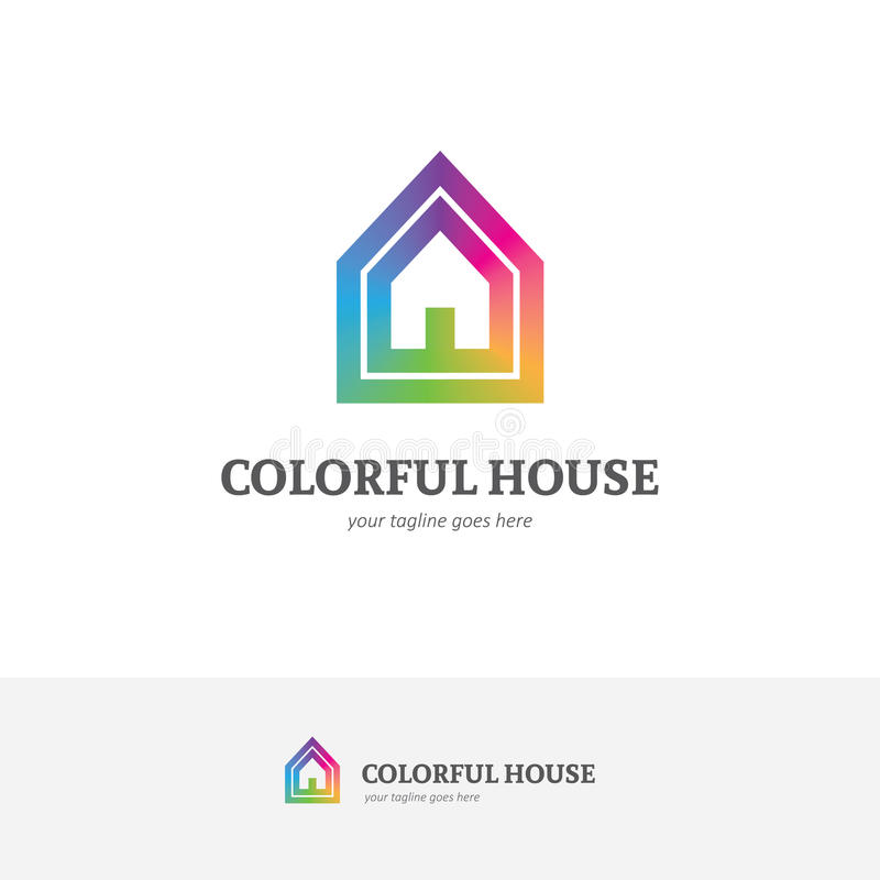 House logo in a rainbow colors royalty free illustration