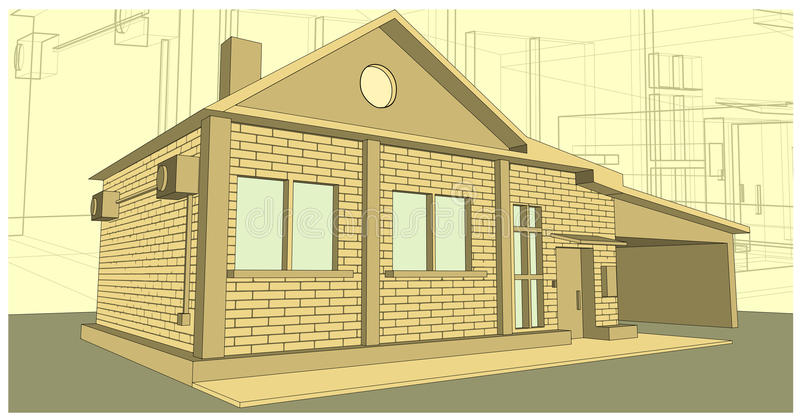 Download House Made Of Bricks Stock Vector Illustration Drawing