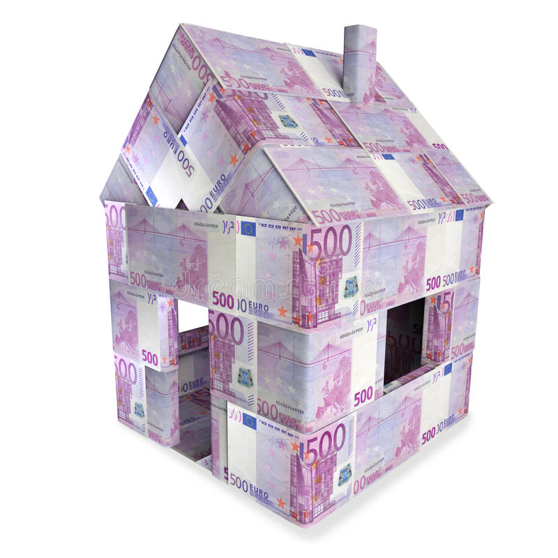 House made of 500 Euro bills. And big money vector illustration