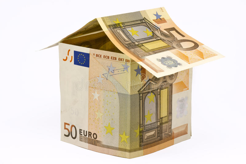 House made of euro money stock photo