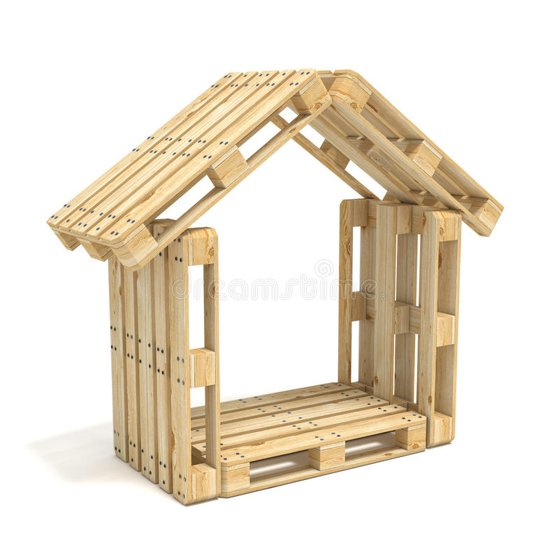 House made of Euro pallets. Side view. 3D render stock illustration