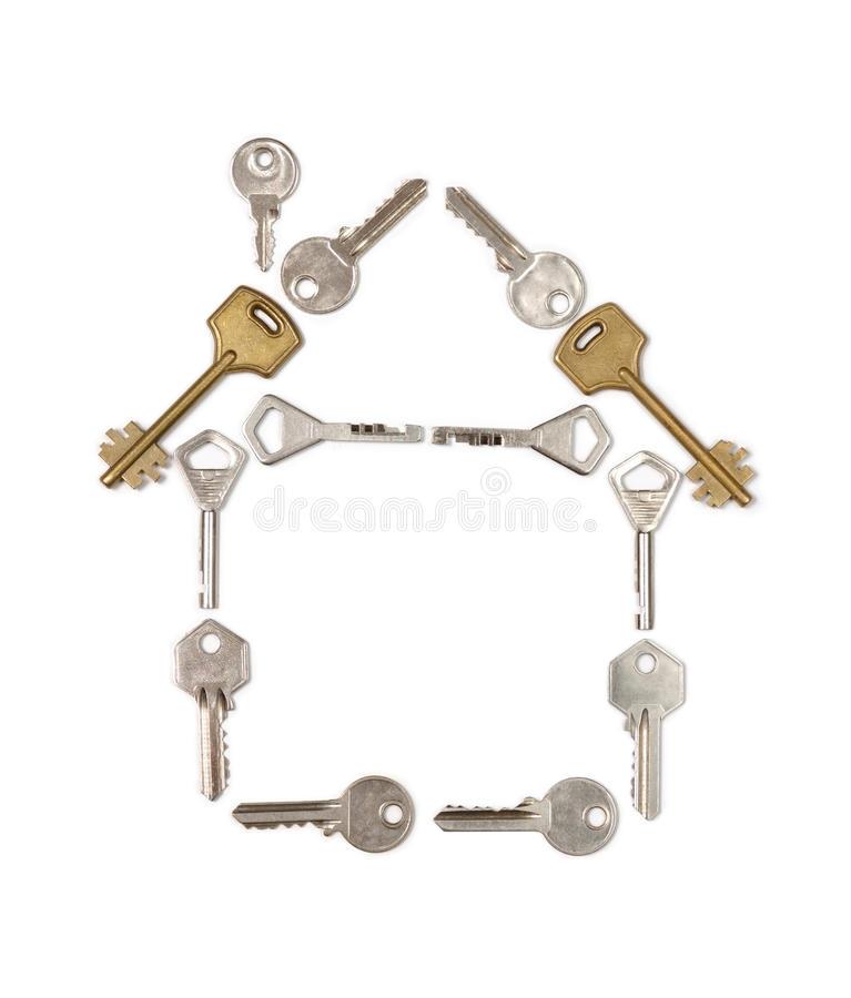 House Made from Keys. Conceptual house symbol made from keys stock photo