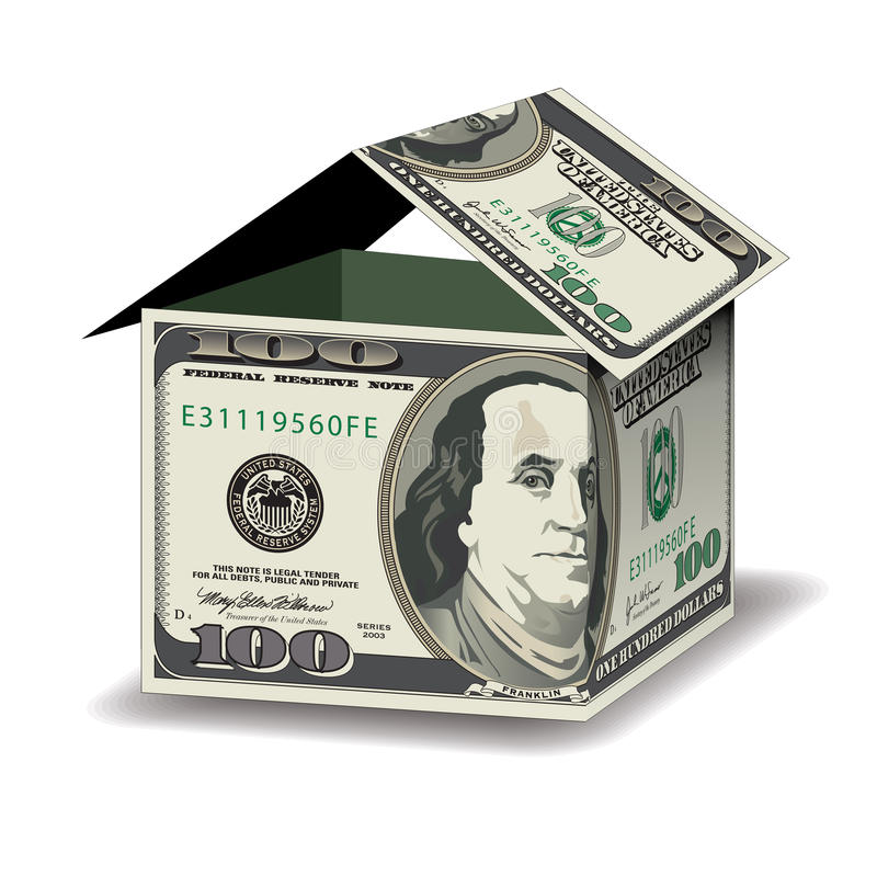 A house made out of 100 dollar bills vector illustration