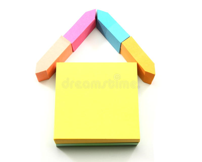 A house made out of sticky notes stock photography