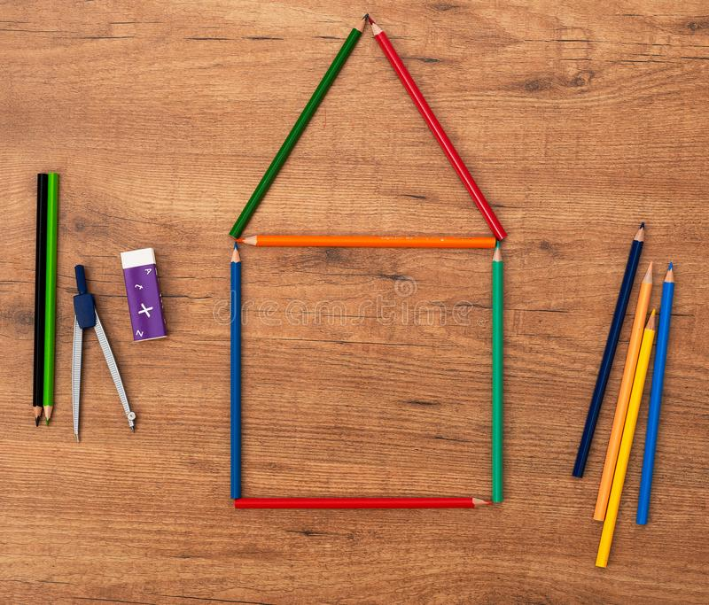 House made of pencils stock photo