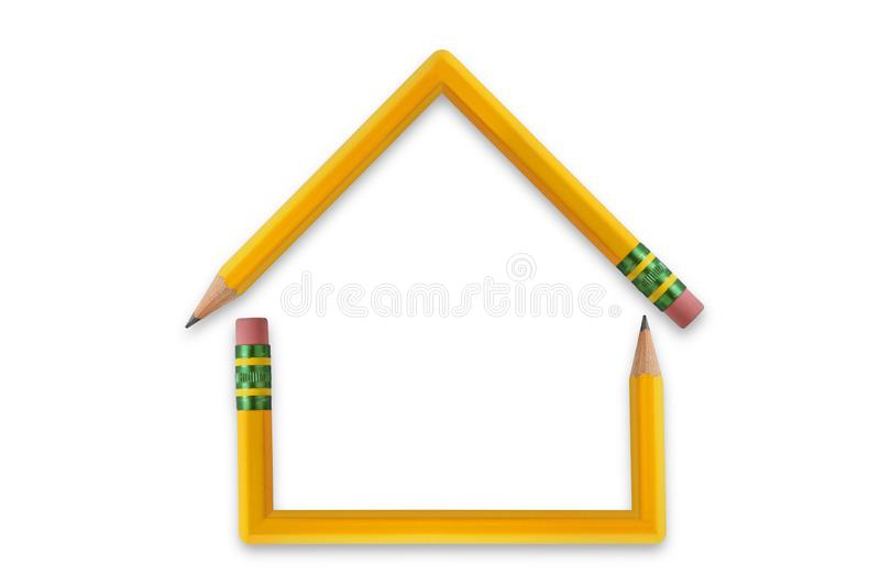 House made of pencils on white background. Conceptual photo stock photo