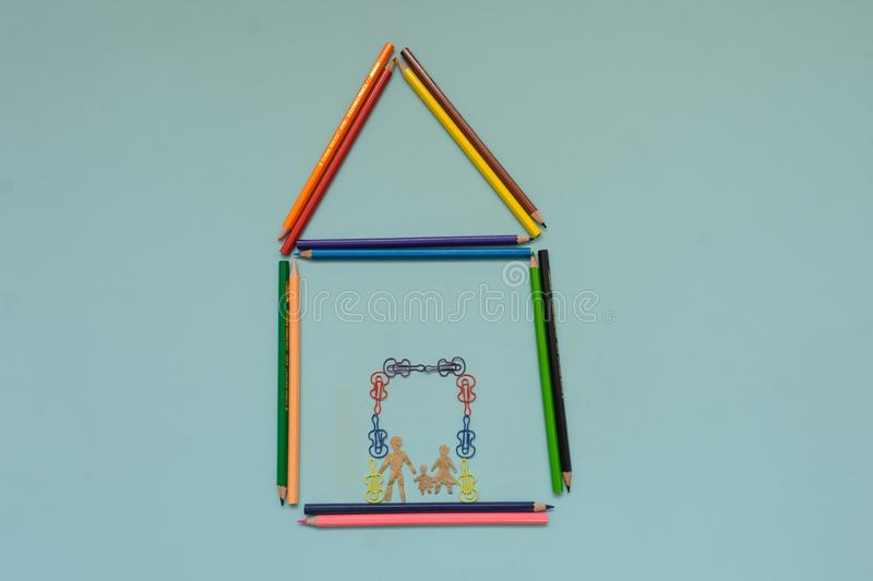 A house maden with colored pencils stock photos