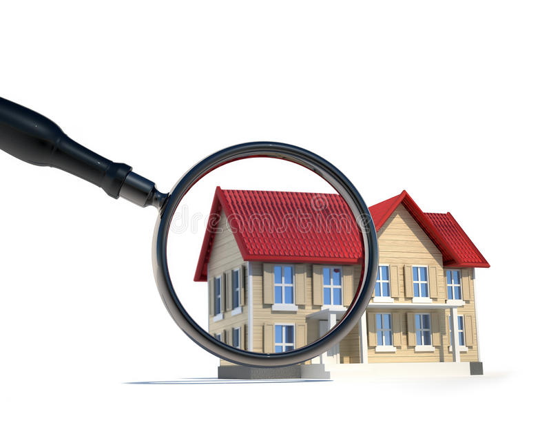 House and magnify glass. Illustration of house and magnify glass - 3d render royalty free illustration