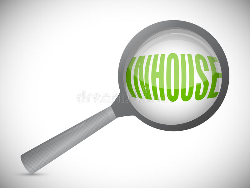 In-house magnify glass illustration design. Over a white background stock photos