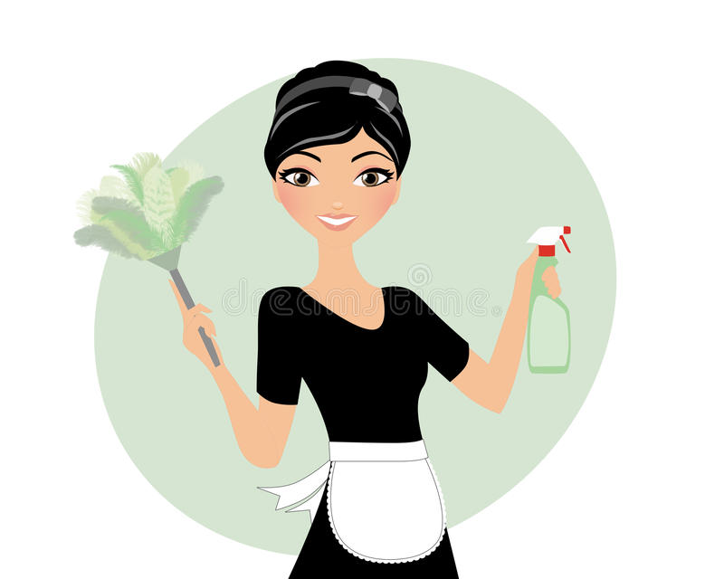 House maid duster stock illustration