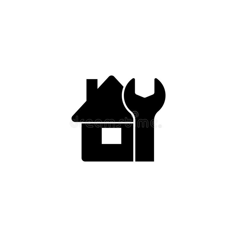 House Maintenance. Construction Home Flat Vector Icon. House Maintenance. Construction Home. Flat Vector Icon. Simple black symbol on white background royalty free illustration