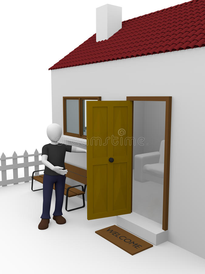 Download House man stock illustration. Image of door, hospitality - 24423528