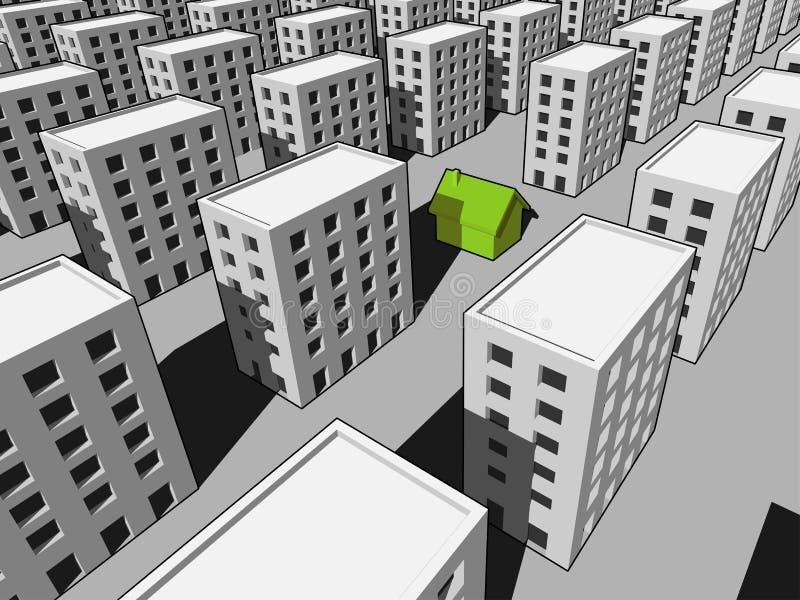 House among many blocks of flats stock illustration